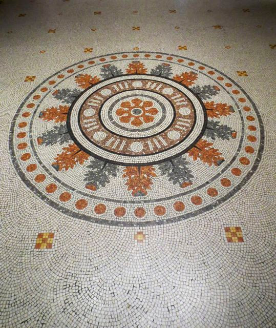 Medallion inspiration; one of many beautiful mosaic floors at the V&A. Note the tiny nine patches.