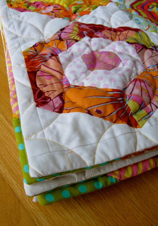"""My freshly finished version of Kaffe Fasset's """"My Fair Lady"""" quilt from xxx."""