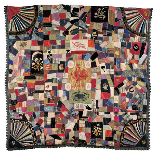 """Cleveland-Hendricks Crazy Quilt (75"""" x 77""""), maker unknown, c. 1885 - 1900, collection of the American Folk Art Museum, gift of Margaret Cavigga, seen in Episode 7 of the documentary Why Quilts Matter"""