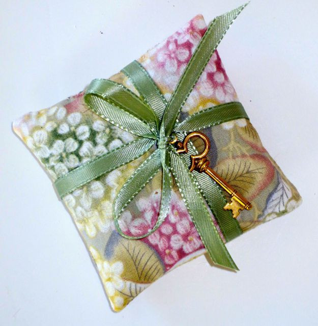 """This little sachet measures approximately 3"""" square finished, but you can make it any size you'd like."""