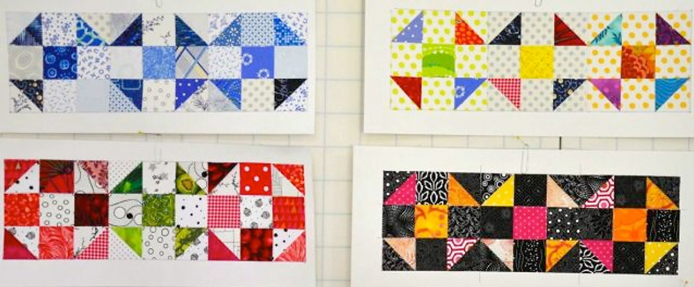 Alex shows you how the same block looks when worked up in various color schemes. Photo courtesy of Alex Anderson.