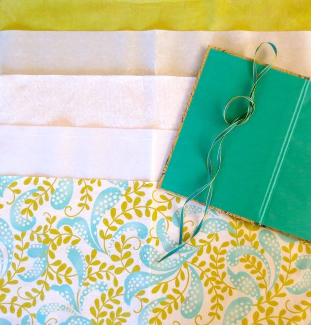 You'll need a book, fabric for cover and lining, fusible web, cotton batting, a length of coordinating ribbon, and matching thread.