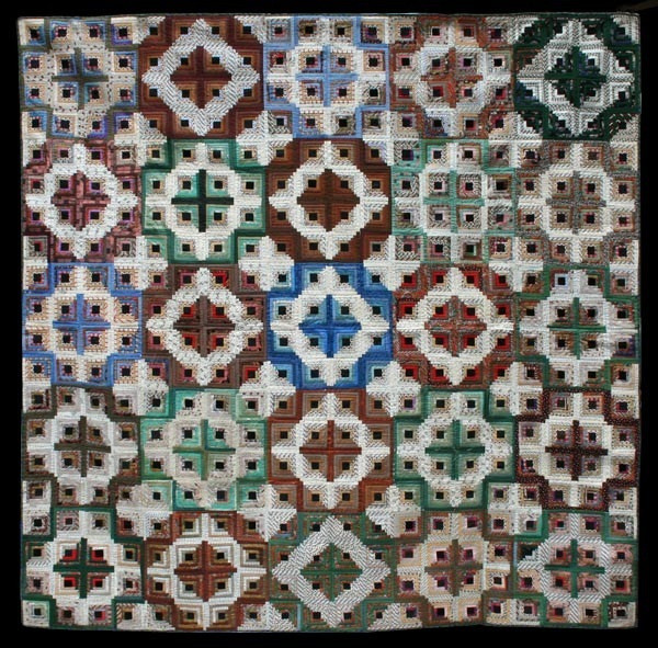 """Double LIght and Dark Log Cabin, 75"""" x 75"""". Unknown Maker, probably Pennsylvania, Circa 1880. Made of cottons and silks."""