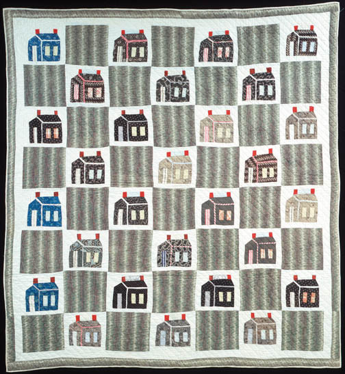"Schoolhouse, circa 1890 - 1910, probably Oklahoma, maker unknown, 78"" x 72"", International Quilt Study Center, University of Nebraska-Lincoln, 1997.007.0314"