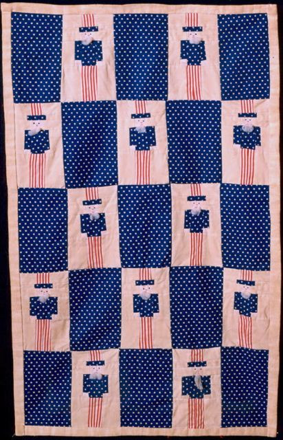 """Uncle Sam Crib/Doll Quilt; 20"""" x 33""""; c. 1985; possibly Tennessee; maker unknown; International Quilt Study Center & Museum; Ardis and Robert James Collection"""