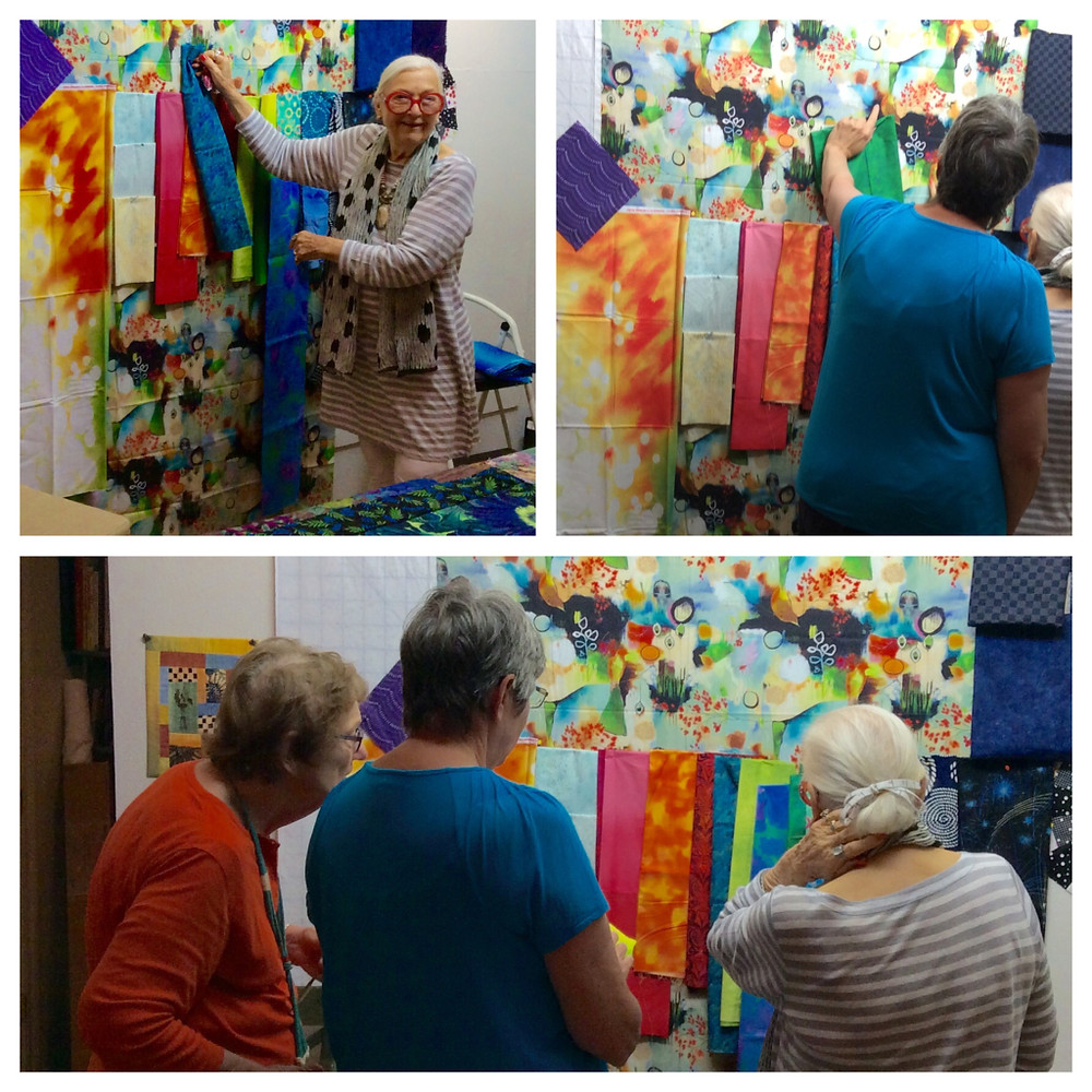 Freddy Moran, Dale Fleming and Diana McClun oversee the fabric selection.