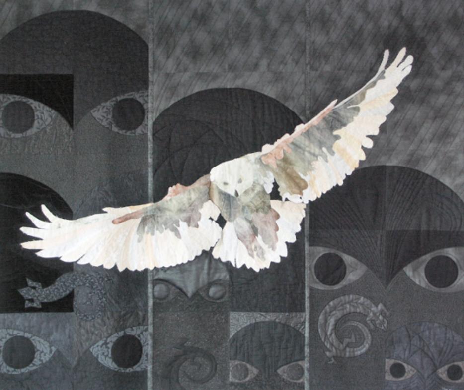 Quilt-J:  Judy Farrow's award-winning quilt, Snowy Owl Meets West Coast Totems