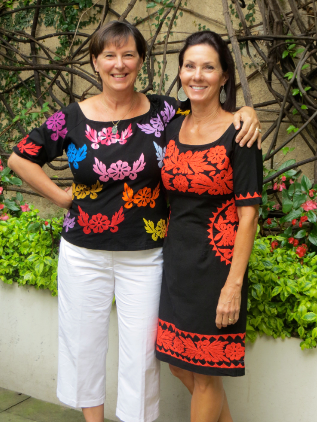 For the last supper we went out! Las hermanas (sisters Cyndy and Sue) strut their Mexican finery.