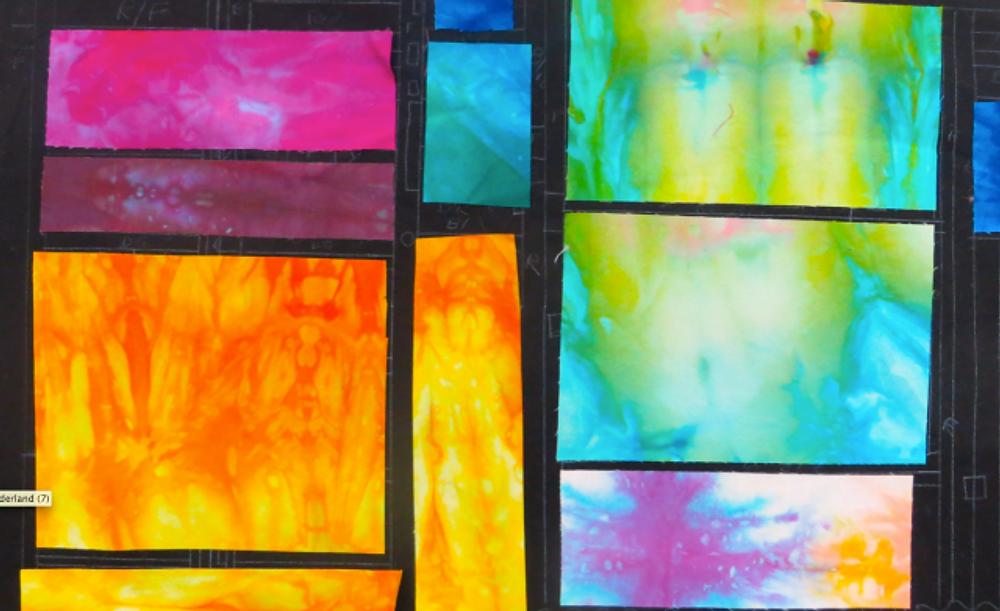 Quilt-CJ:  Quilt Study by Cyndy Rymer for Esterita Austin Workshop