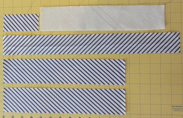 Cut pieces needed for one bow tie.