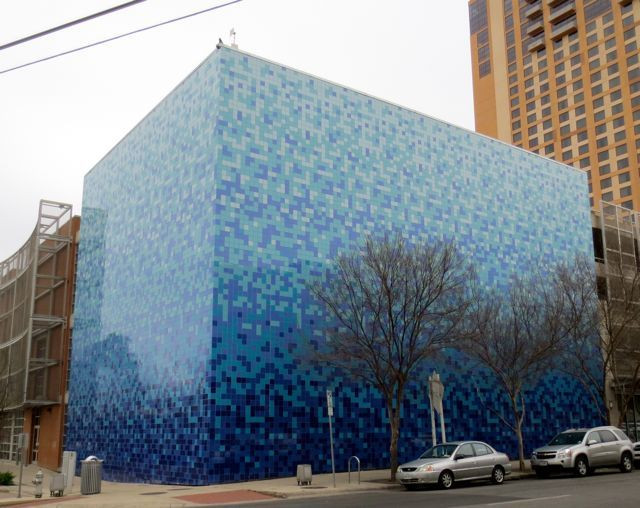 This cool blue building was right across the street from our downtown hotel.
