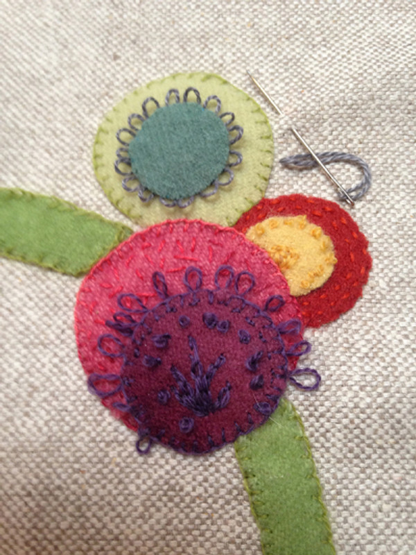 Wool Blossom Pillow - add some embroidery