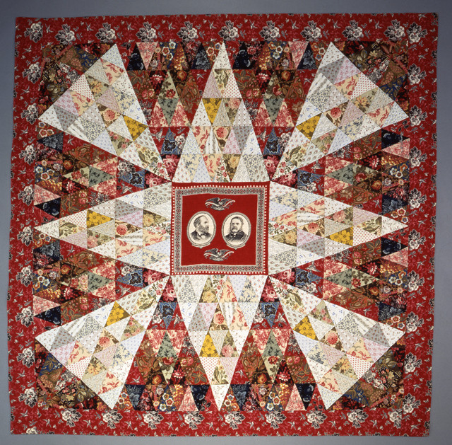 """Garfield-Arthur Medallion Quilt (84"""" x 84""""), made by Anna May Ensminger, 1884, photo by Geoffrey Carr, formerly in the collection of Shelly Zegart, seen in Episode 2 of the documentary Why Quilts Matter"""