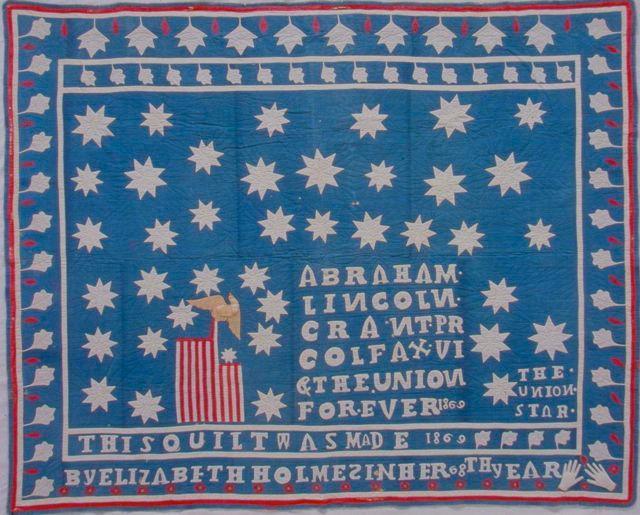 """Patriotic (90"""" x 71""""), made by Elizabeth Holmes, 1869"""