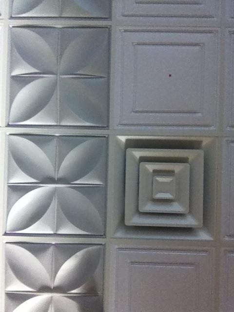 Ceiling tiles at Indigo Yoga.