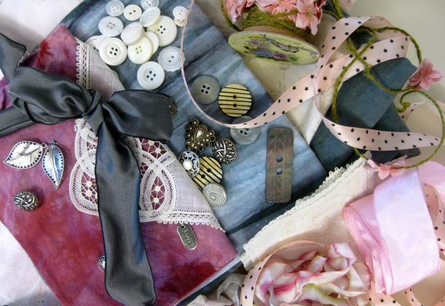Some of the fabrics, trims, and other embellishments I considered