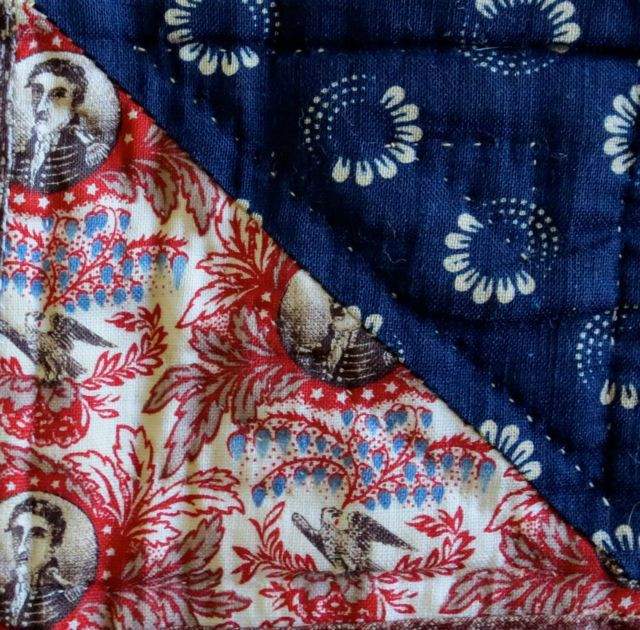 Detail of my late 19th-century charm quilt; this commemorative print featuring Andrew Jackson was reproduced for the US Centennial in 1876.
