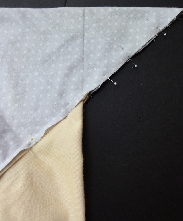 Mark a line on the wrong side of the backing fabric.