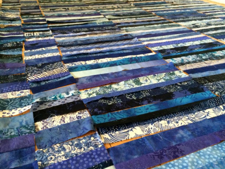Quilt-J:  Scrappy blue quilt