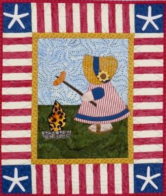 """Sunbonnet Sue at the BBQ; 22"""" x 26""""; 2010; designed and made by Darra Williamson and machine quilted by Chris Porter; from  A Year in the Life of Sunbonnet Sue"""