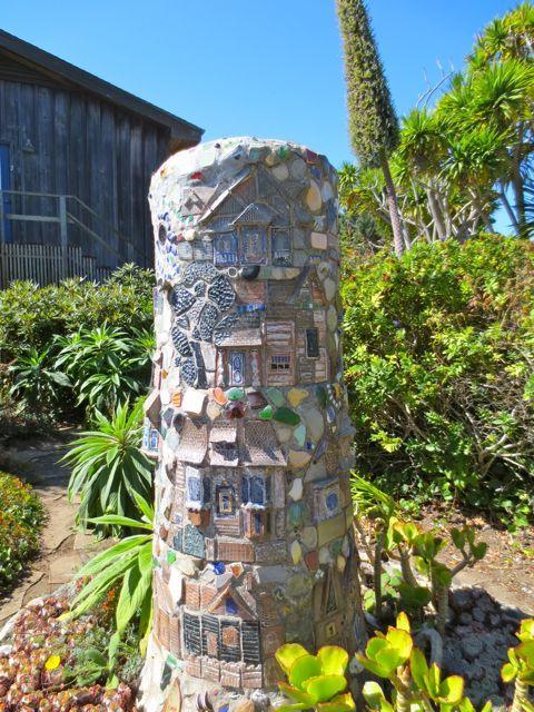 This delightful mosaic piece adorns the gardens outside the Mendocino Art Center.