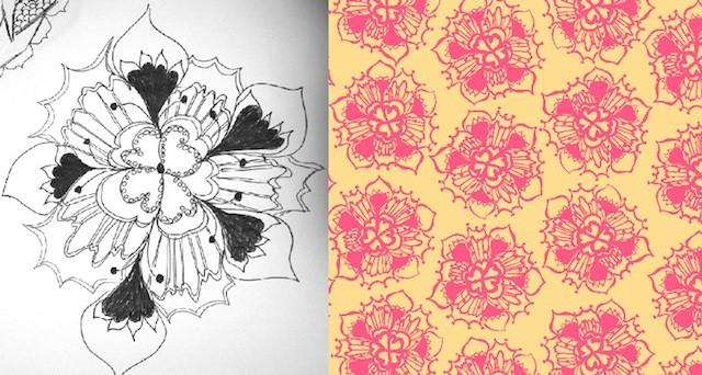 Fleur: sketch and final pattern in Illustrator by Carol van Zandt.
