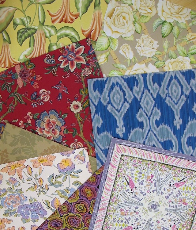 Hand painted designs by Carol van Zandt done during classic textile design training.