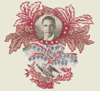 Inspired by historic campaign fabrics, Barbara Brackman created this image to produce fabric for the 2012 election.