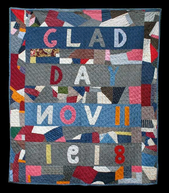 """""""Glad Day"""" Crazy Quilt. Initialed (EFB) and dated (Nov. 11, 1918) Cottons."""