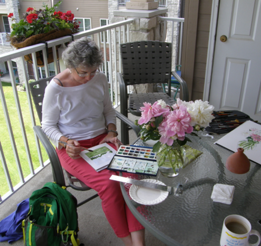 The artist's creative life--Peg Conley at work.