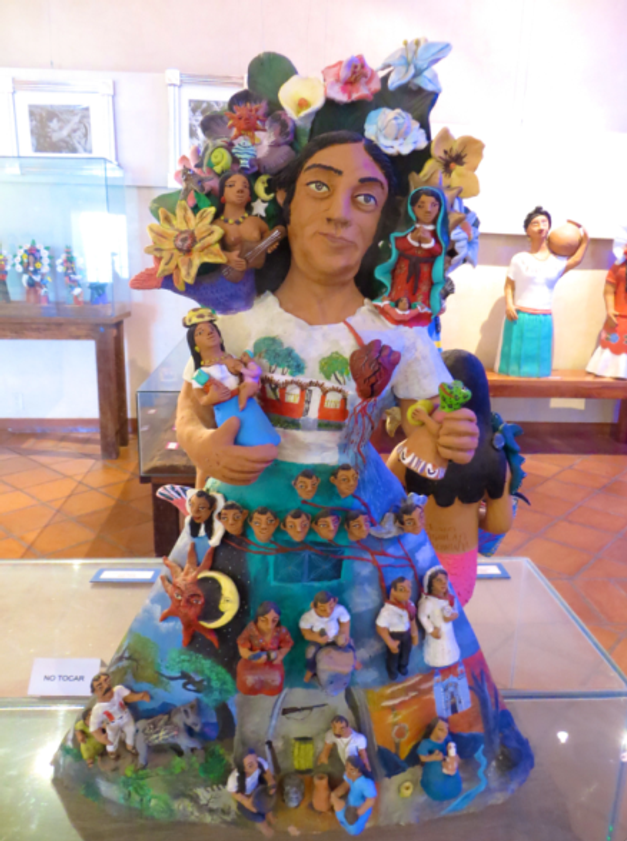 Typical Oaxacan clay sculpture in a folk art museum.