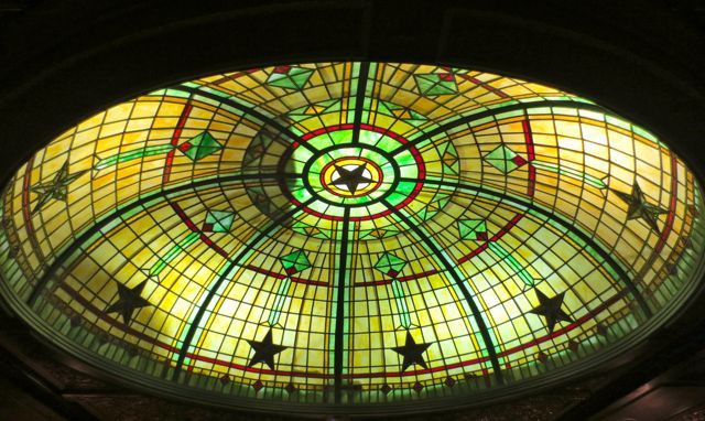 Looking up: The stained-glass dome at Austin's Driskill Hotel