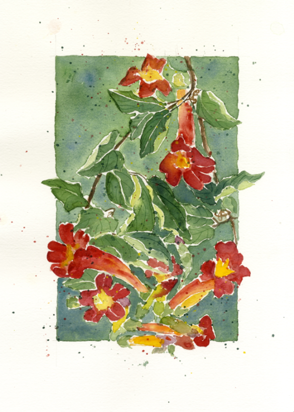 Here's one of Peg Conley's watercolor inspirations for her Clothworks fabric line.