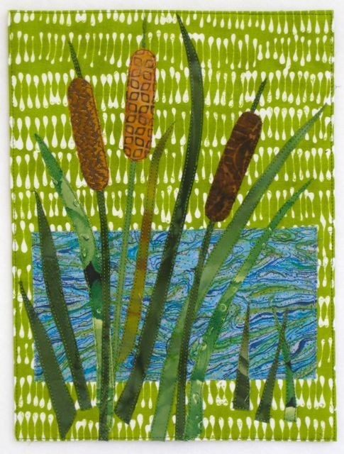 """Cattails (7 1/2"""" x 10"""") by Darra Williamson; a slightly larger piece inspired by one of my 3"""" x 5"""" experiments"""