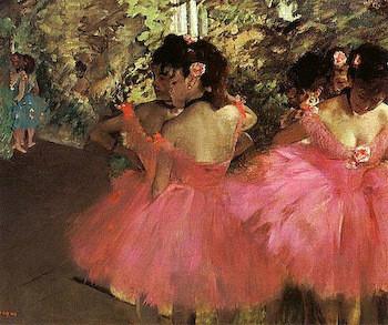 Ballerina Dancers in Pink by Edgar Degas