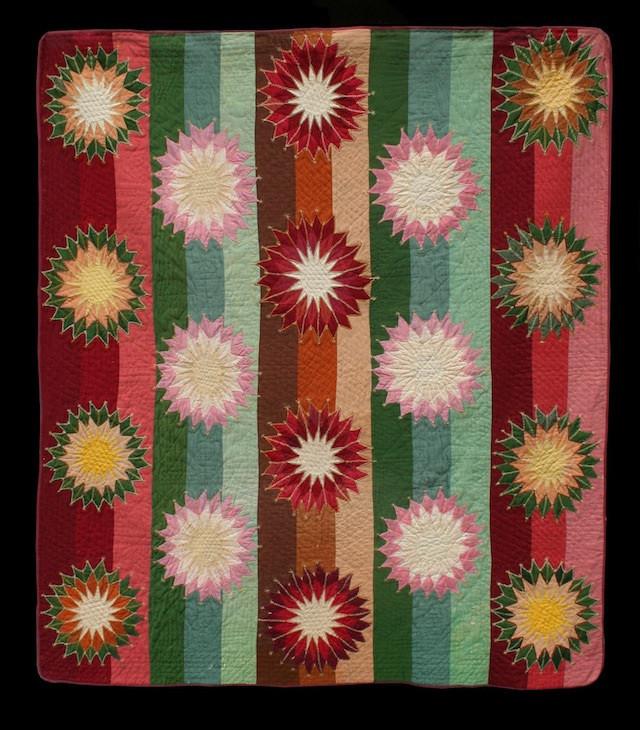 Starburst (variant) Made by Amanda Dubois (for Andrew Dubois) 1878. Asheville, NC. Wools.