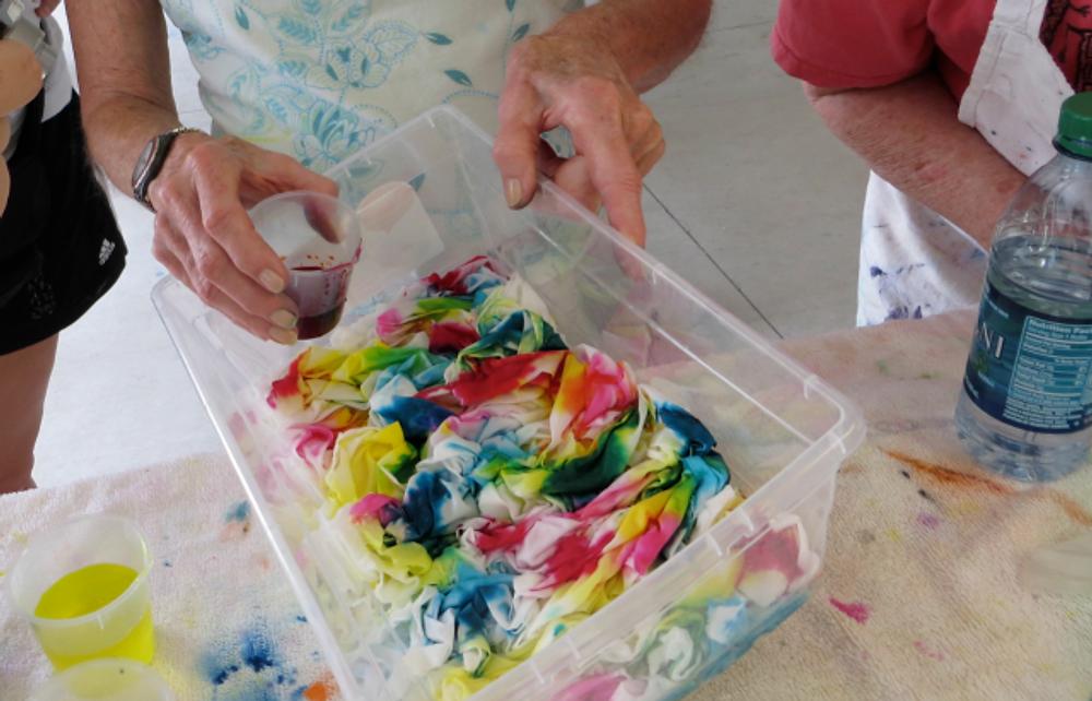 Fabric-CR:  Cyndy Rymer Dyeing Fabric in Hawaii