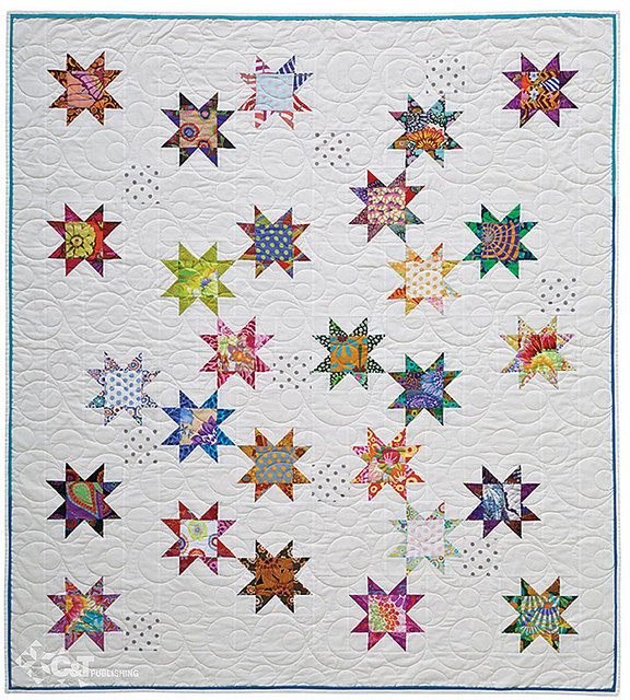 """Seeing Stars, 48 1/2"""" x 54 1/2"""", designed and pieced by Alex Anderson, machine quilted by Dianne Schweickert. Photo courtesy of C&T Publishing."""