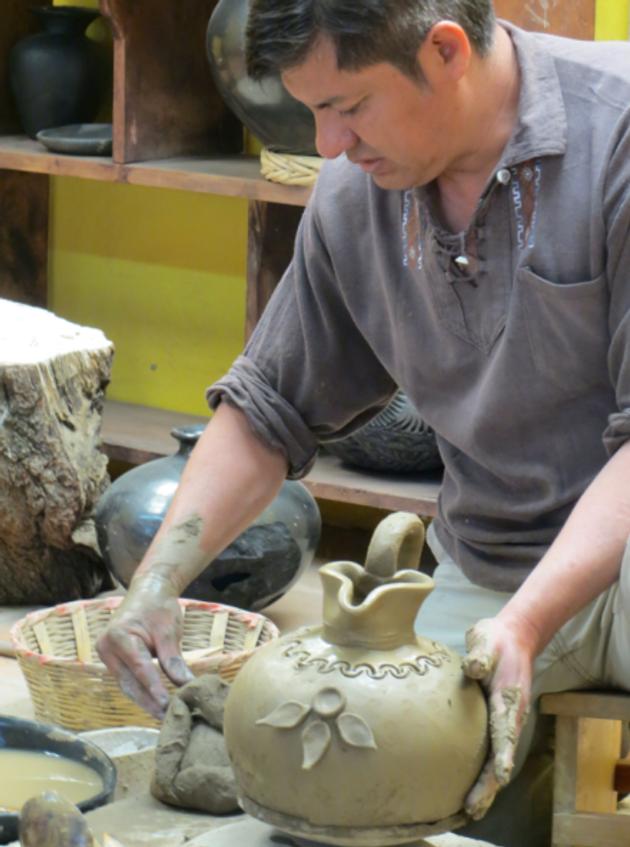 Visiting a pottery workshop.