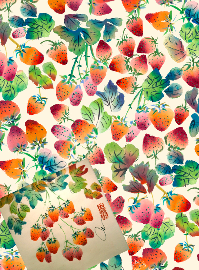 Strawberries: sumi painting scanned into Photoshop to create pattern. By Carol van Zandt.