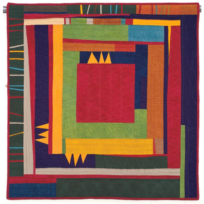 """Three Triangles (35"""" x 36""""), made and hand quilted by Gwen Marston, 2010"""
