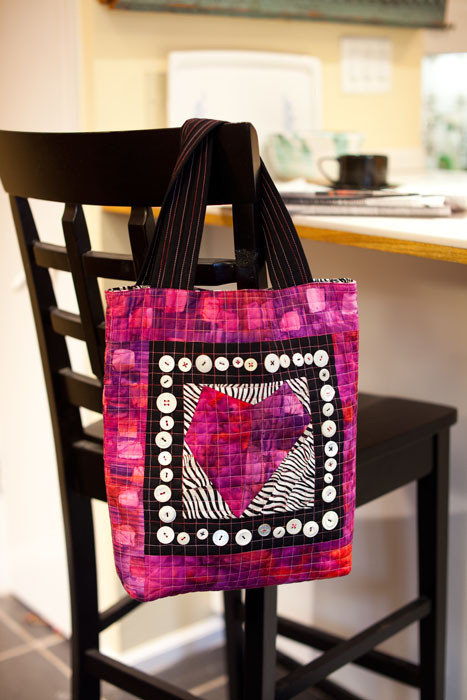 """Heart of Bold tote (13 1/2"""" x 14"""" x 3 1/2"""" deep), designed and made by Elizabeth Rosenberg"""