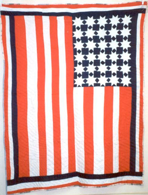 """Flag; 70"""" x 88"""", c. 1990; made by Mary Maxtion; Greene County, AL; International Quilt Study Center & Museum; Robert and Helen Cargo Collection"""