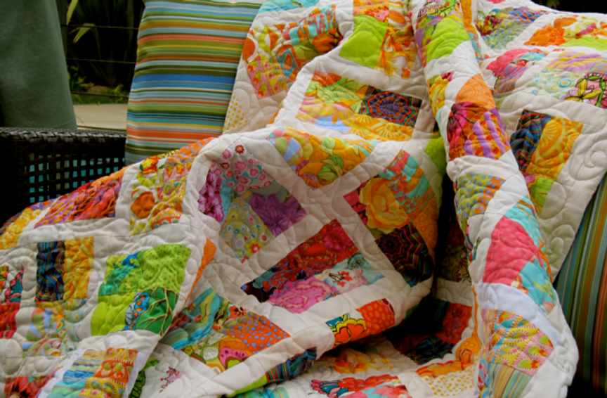 Quilt-J:  Detail of Laurence's Scrappy Quilt