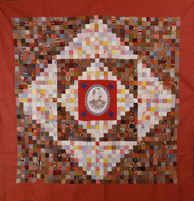 """Grover Cleveland Quilt (85 1/2"""" x 85 1/2""""), maker unknown, c. 1884 - 1890, collection of the American Folk Art Museum, Gift of Made in America - Margy Dyer, seen in Episode 7 of the documentary Why Quilts Matter"""