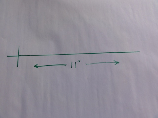 Mark a line the radius of the circle.