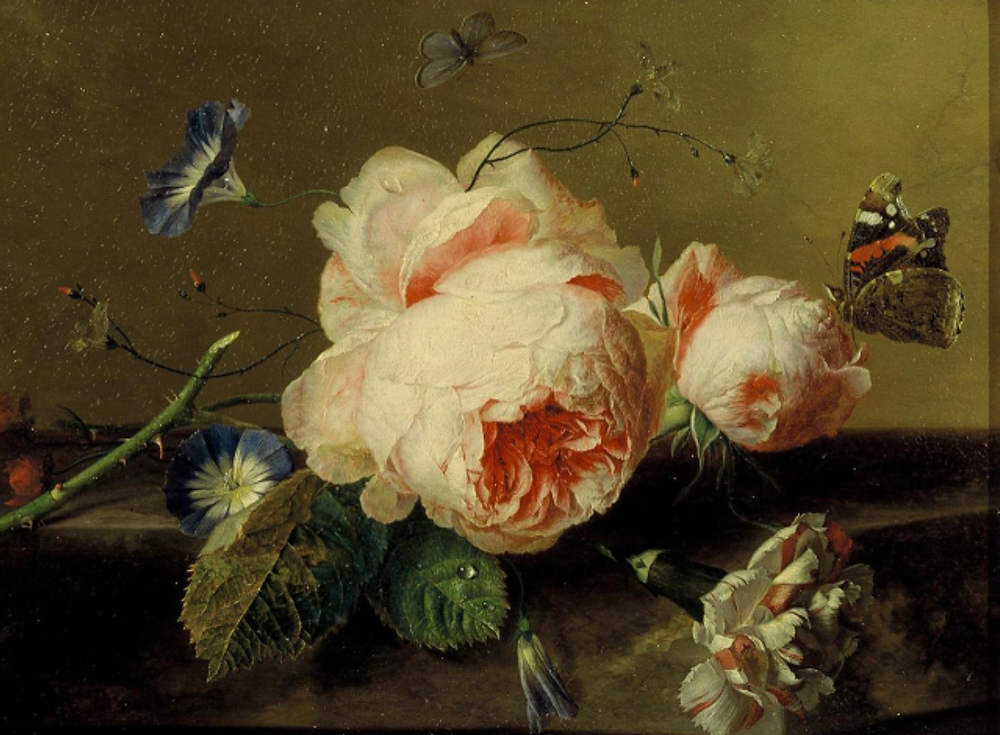 Inspiration-J:  Detail of Jan Van Huysum painting Mauritshuis, The Hague