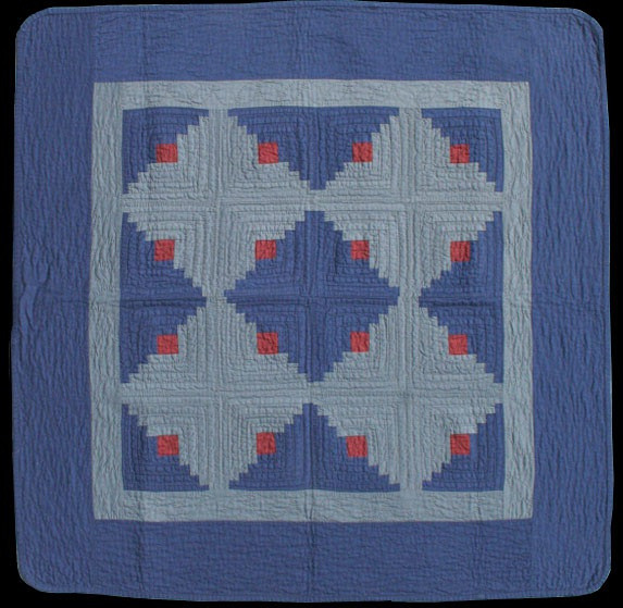 """Log Cabin, Light and Dark, 35"""" x 35"""". Unknown Amish Quiltmaker. Holmes County, Ohio circa 1930. Made of cottons."""