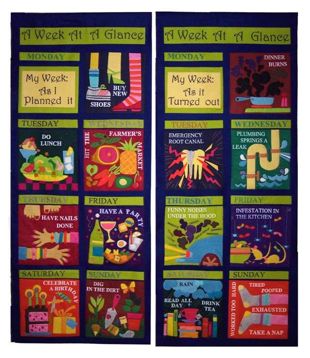 """A Week at a Glance (49"""" x 60""""), by Jean Ray Laury, 2005; wool, felt, paint, floss. This wonderful, humorous quilt appears in Why Quilts Matter - Episode 2: Quilts Bring History Alive."""