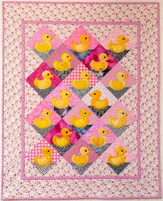 A pink version of Rubber Duckies, made by Chris Porter from the book, Cuddle Me Quick; photo by Neil Porter